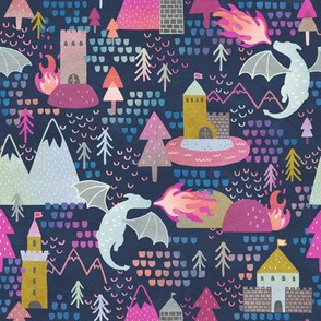 Watercolor Dragons and Castles Fabric Pattern