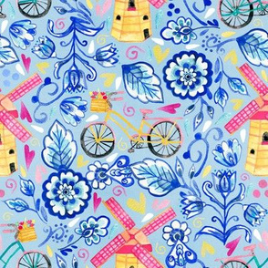 Netherlands Whimsy - Delft, Bicycles & Ornamental Windmills - Blue
