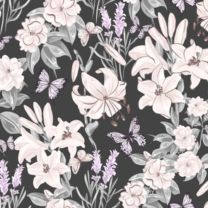 Spring Flora and Fauna on Gray