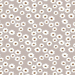 Scandinavian daisies flower design white blossom minimal abstract retro daffodil daisy modern soft gray russet