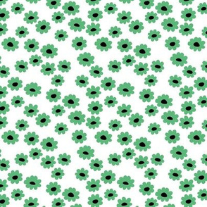 St Patrick's Day Irish daisies flower design and green blossom minimal abstract retro daffodil daisy modern grass green white small