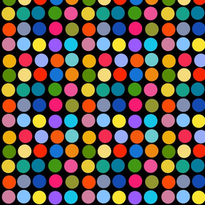 Dotty Spots #1 - multi colours on black, medium