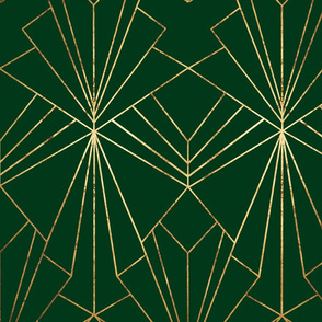 Art Deco on Emerald Green - Large Scale