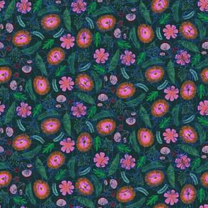 Fierce Floral Dark Small Scale