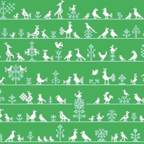 Cross stitch birds and flowers (green)
