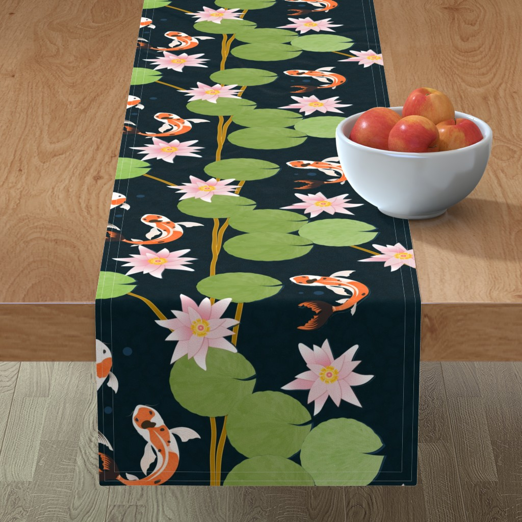 Minorca Table Runner featuring that pond life by flossiesgrand
