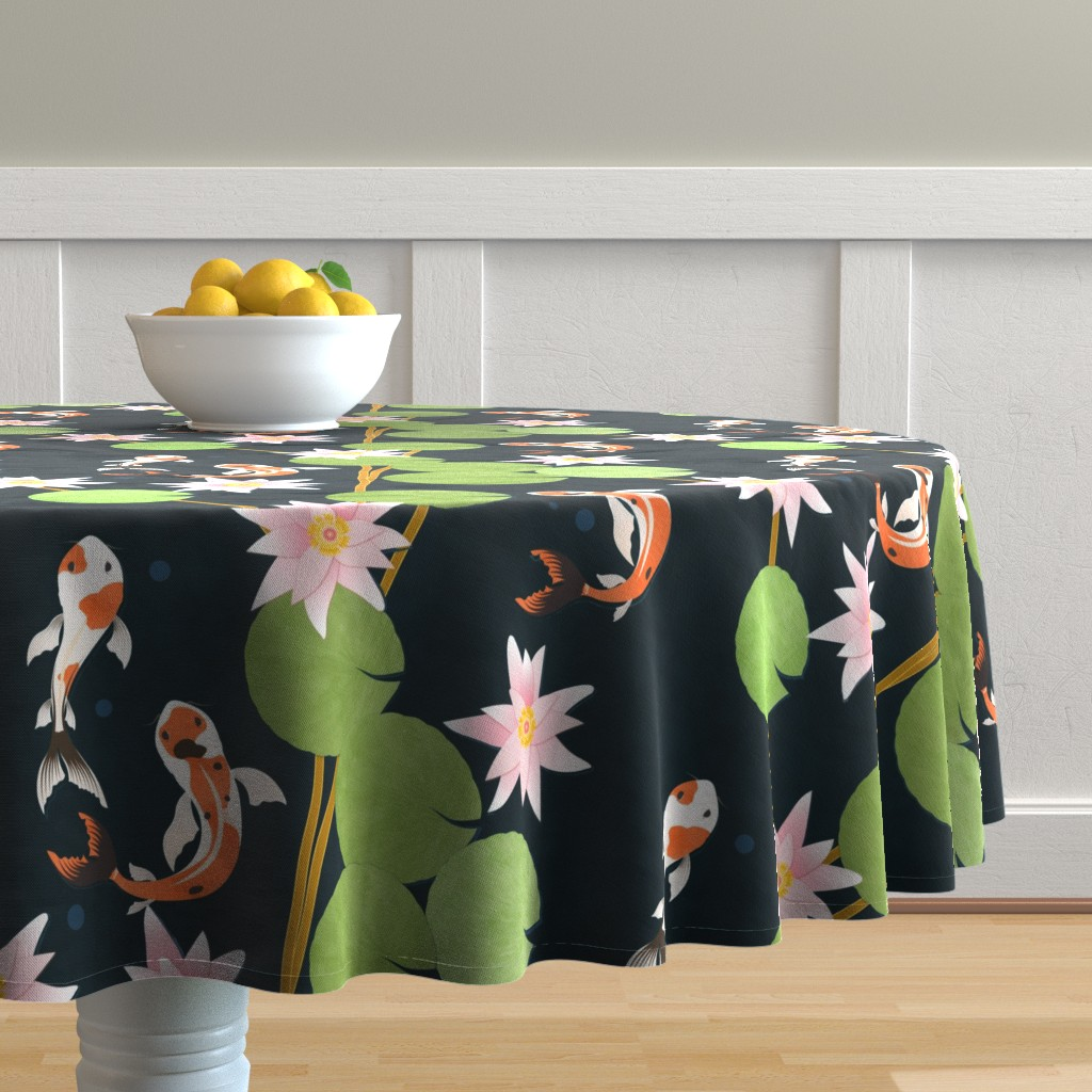 Malay Round Tablecloth featuring that pond life by flossiesgrand