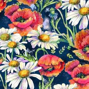 Poppies and daisies - navy