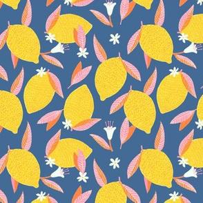 Bright Yellow Lemons on Blue