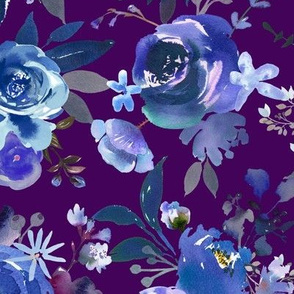 Classic Blue Watercolor Floral // Eggplant
