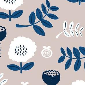 Poppy flower garden Scandinavian boho style summer blossom in neutral gray navy blue