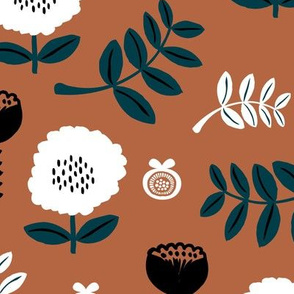 Poppy flower garden Scandinavian boho style summer blossom in neutral russet brown rust stone blue