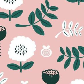 Poppy flower garden Scandinavian boho style summer blossom in neutral mauve pink forest green