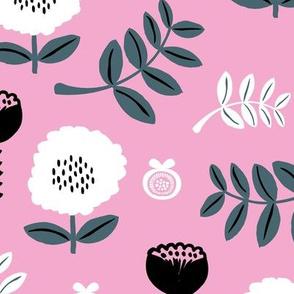 Poppy flower garden Scandinavian boho style summer blossom in bright pink forest green