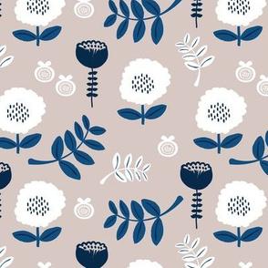 Poppy flower garden Scandinavian boho style summer blossom in neutral gray navy blue SMALL