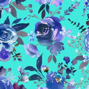 Classic Blue Watercolor Floral // Turquoise