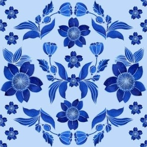 Folk. Watercolor blue flowers and leaves on a light blue background