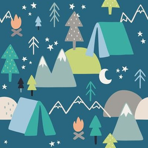 Camping Pattern on Blue Background