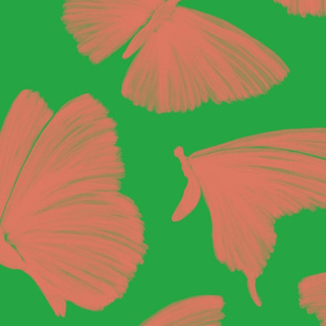 Painterly Butterflies, pink and green