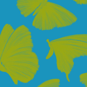 Painterly Butterflies, blue and lime green