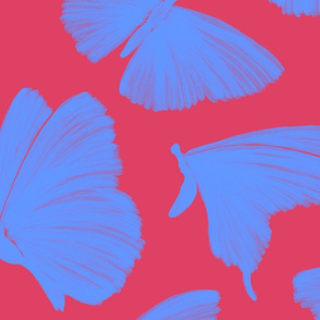 Painterly Butterflies,  Bright Pink and Periwinkle