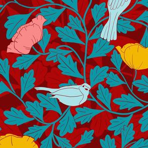 Art Nouveau Birds and Poppies