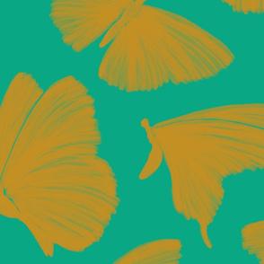 Painterly Butterflies, emerald and mustard