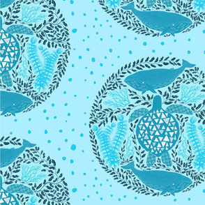 Sea Turtle and Whales, light blue