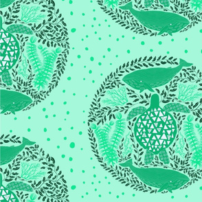 Sea Turtle and Whales, mint green