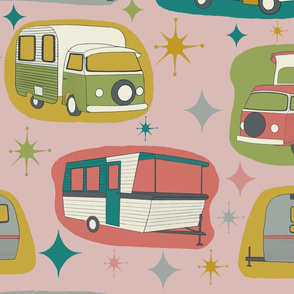 Vintage Campers, blush pink background