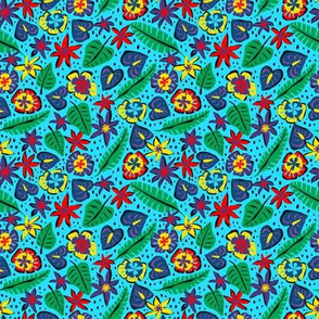 Micro Print - Tropical Abstract - Light Blue