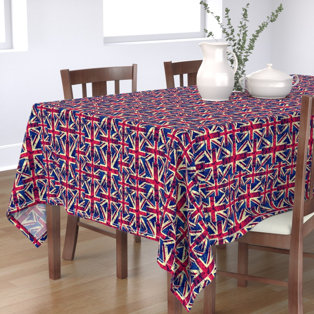 Bantam Rectangular Tablecloth featuring RETRO BRITISH FLAGS LARGE by bluevelvet