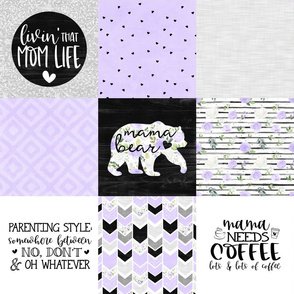 MomLife//Mama Bear//Coffee//Purple - Wholecloth Cheater Quilt