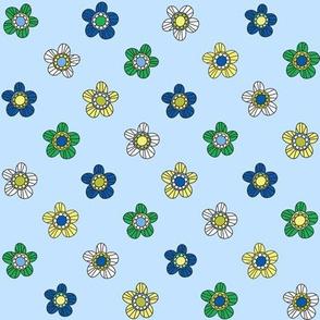 Retro flowers blue
