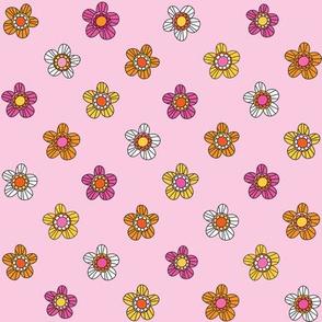 Retro flowers pink