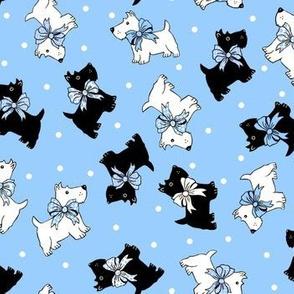 Scottie dogs on blue