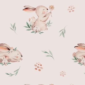 Baby bunny animal pattern. Forest rabbit watercolor collection 3