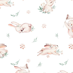 Baby bunny animal pattern. Forest rabbit watercolor collection 2
