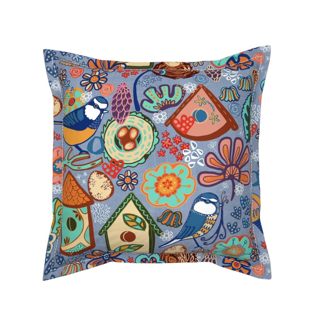 Serama Throw Pillow featuring Busy Building Nests by slumbermonkey