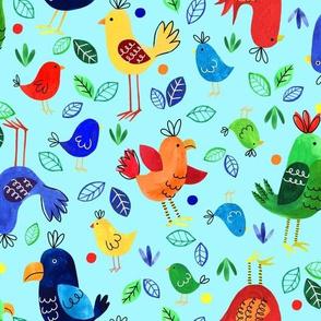 Tropical birds blue