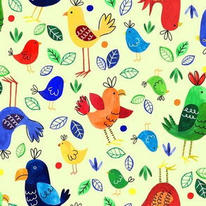 Tropical birds yellow
