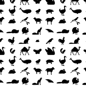 Animal Silhouettes (Small Size Print)