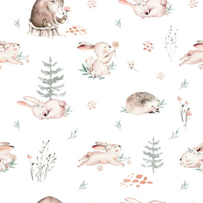 Woodland Baby animals pattern. Forest rabbit, bear and  hedgehog watercolor collection