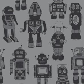 Hand drawn Vintage Robots Dark Grey - Medium scale
