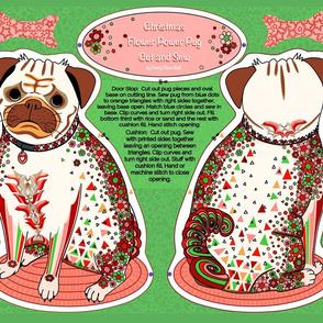 Christmas  Pug cushion or door stop