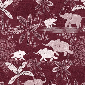 happy elephants in burgundy - medium size