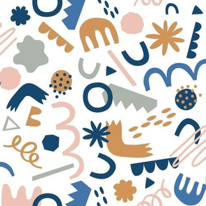 Playing with Shapes - Blue / Mustard / Pink