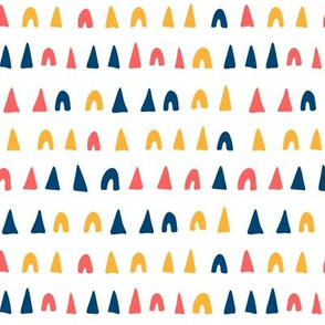 Playful shapes - navy blue, coral and gold
