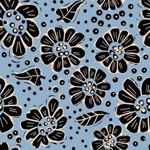 Woodcut flowers denim