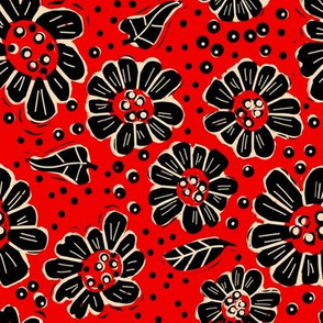Woodcut flowers red
